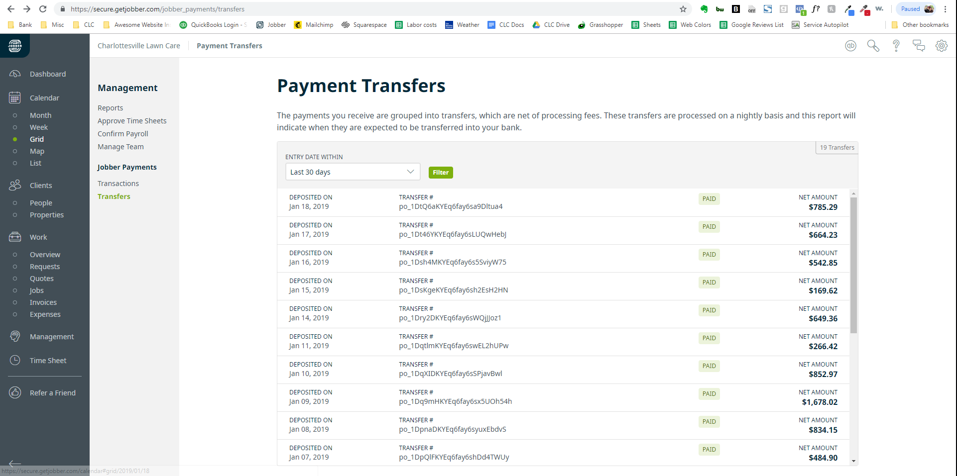 Jobber Payments Transfers: Jobber batch deposits shown here.