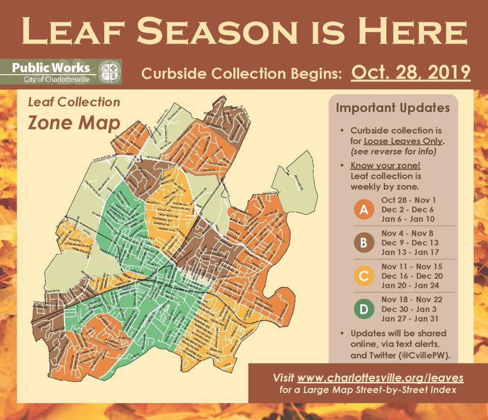Charlottesville leaf collection map 2019-2020.