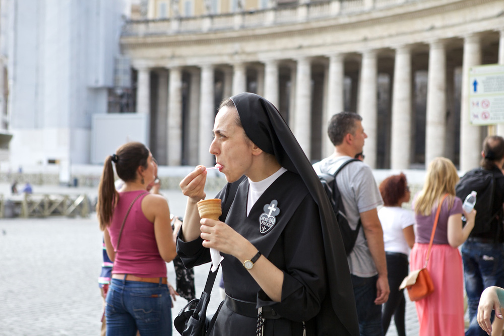 Nun eating Ice Cream in the Vatican.