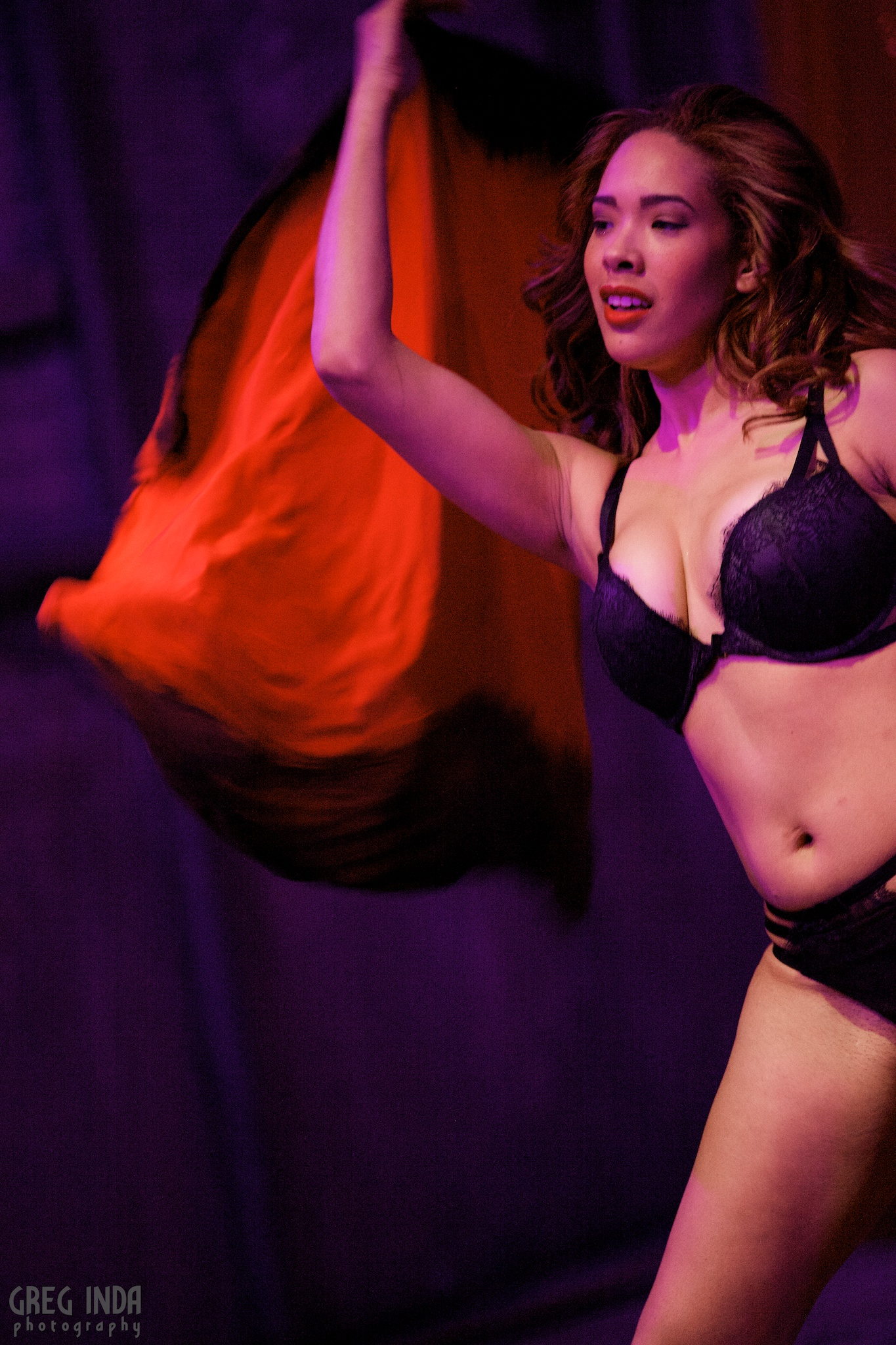 Camille Leon performing at the Kiss Kiss Cabaret