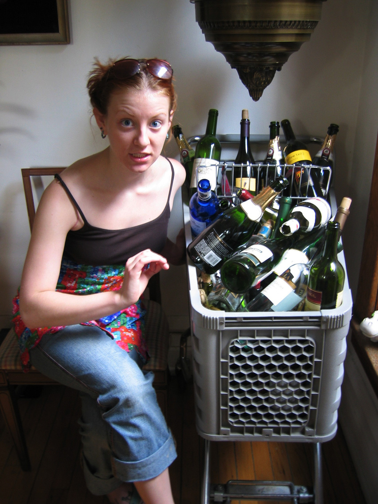 Our friend Patrick had a wicked huge collection of wine bottles.