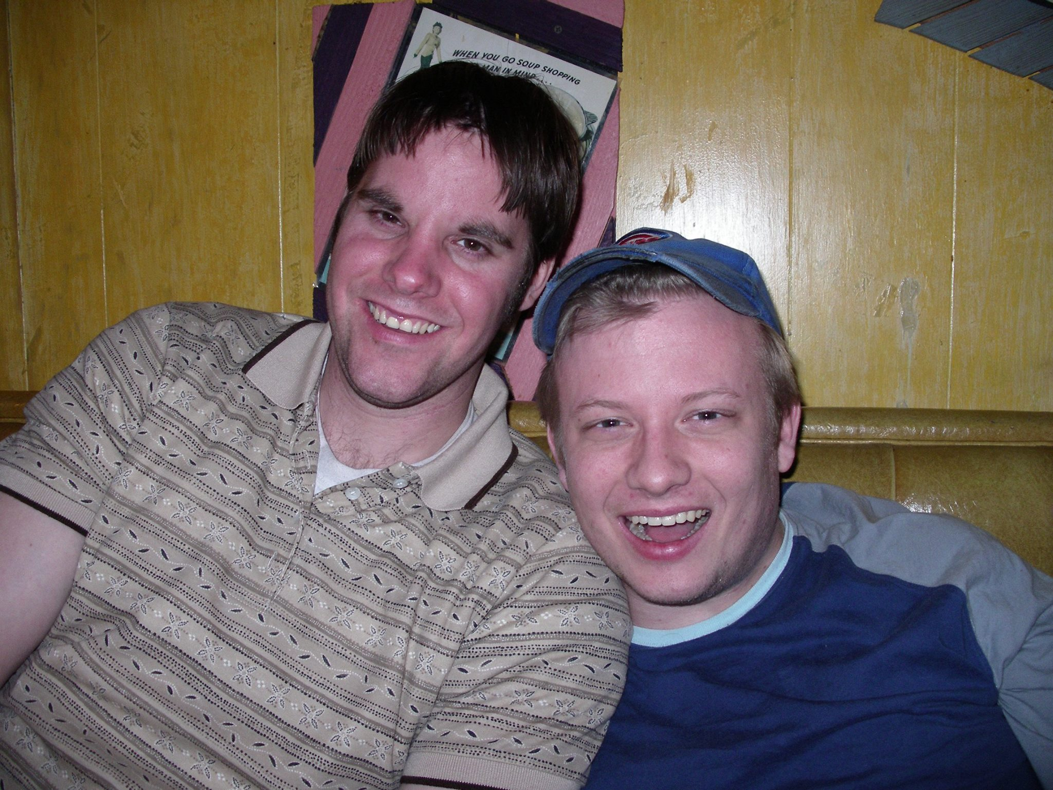 Mike and I in a booth at the Pick Me Up Cafe in Chicago. Photo by Steven Townshed, with whom we were discussing art, women, and... that was probably it.