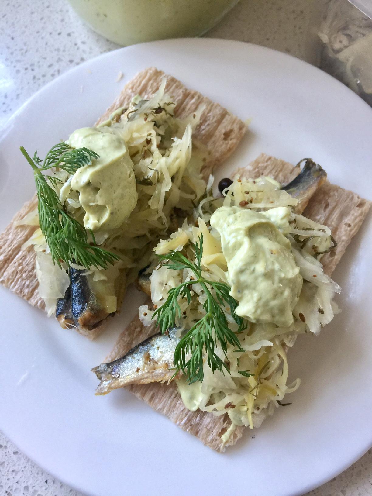 Coconut Rosemary Mayonnaise, Sardines & Sauerkraut on Buckwheat Crisps Recipe