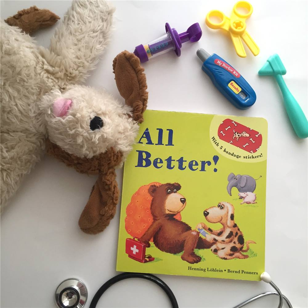 Dog hurt his foot, Sheep scratched her tummy and Bear sat on a splinter! What will make everything all better? This Book has five REUSABLE Bandaids  (Don't worry Mamas... they are sUper durable) that kids can put on the animals in the book!  After reading together, Get some stuffed animals (Or animal friends as we call them in our house)  and re-enact the book.  Add a play doctor's kit for an afternoon of play vet fun!     Find All Better Here