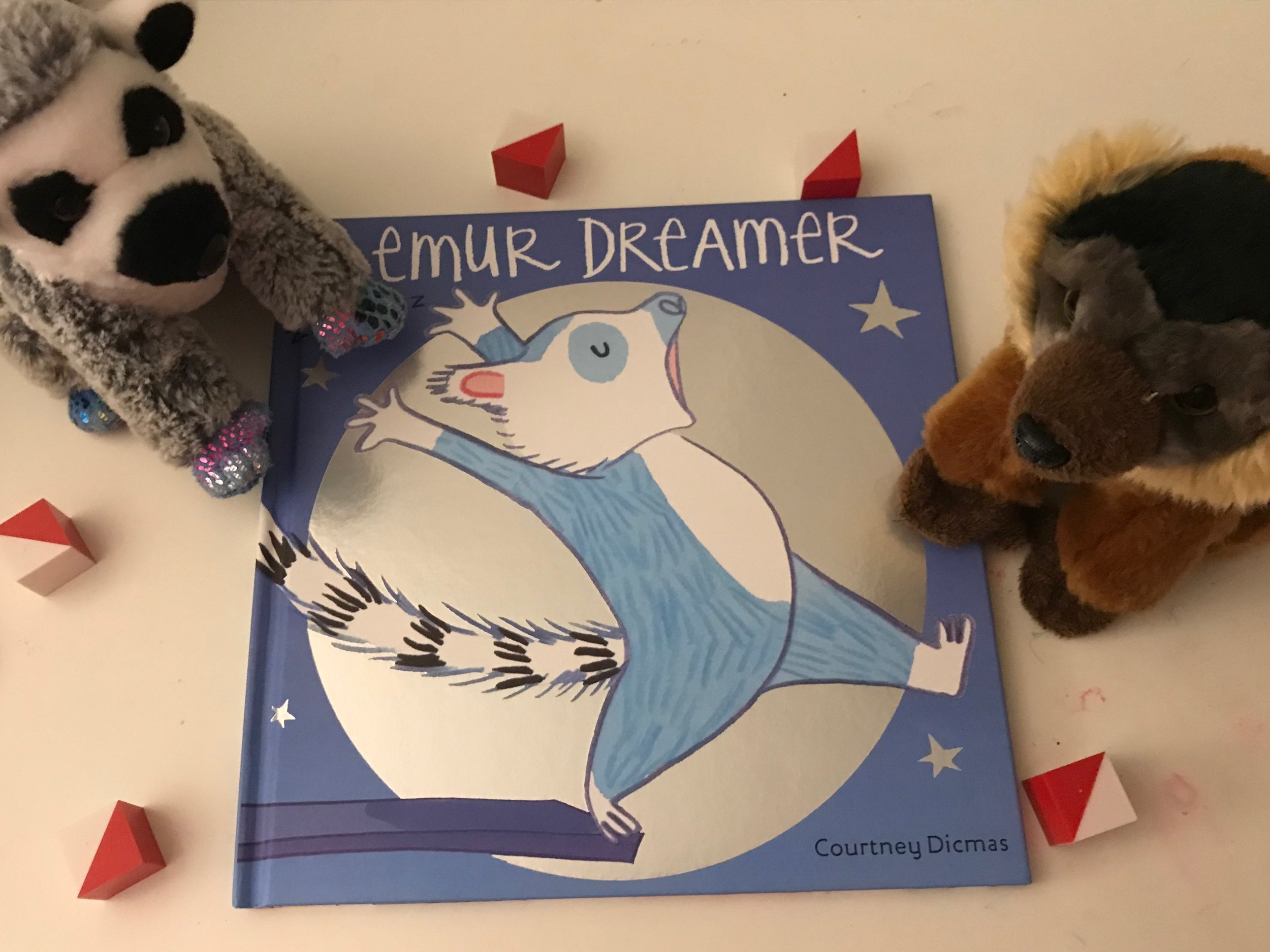 Lemur has a problem, a big problem... he's a sleepwalker. This delightful story is about how friends rally around each other to take care of one another. The ending has the BEST surprise!!!   Grab some stuffed animals and play along as the friends try to help Lemur as he sleep walks.    Find Lemur dreamer here