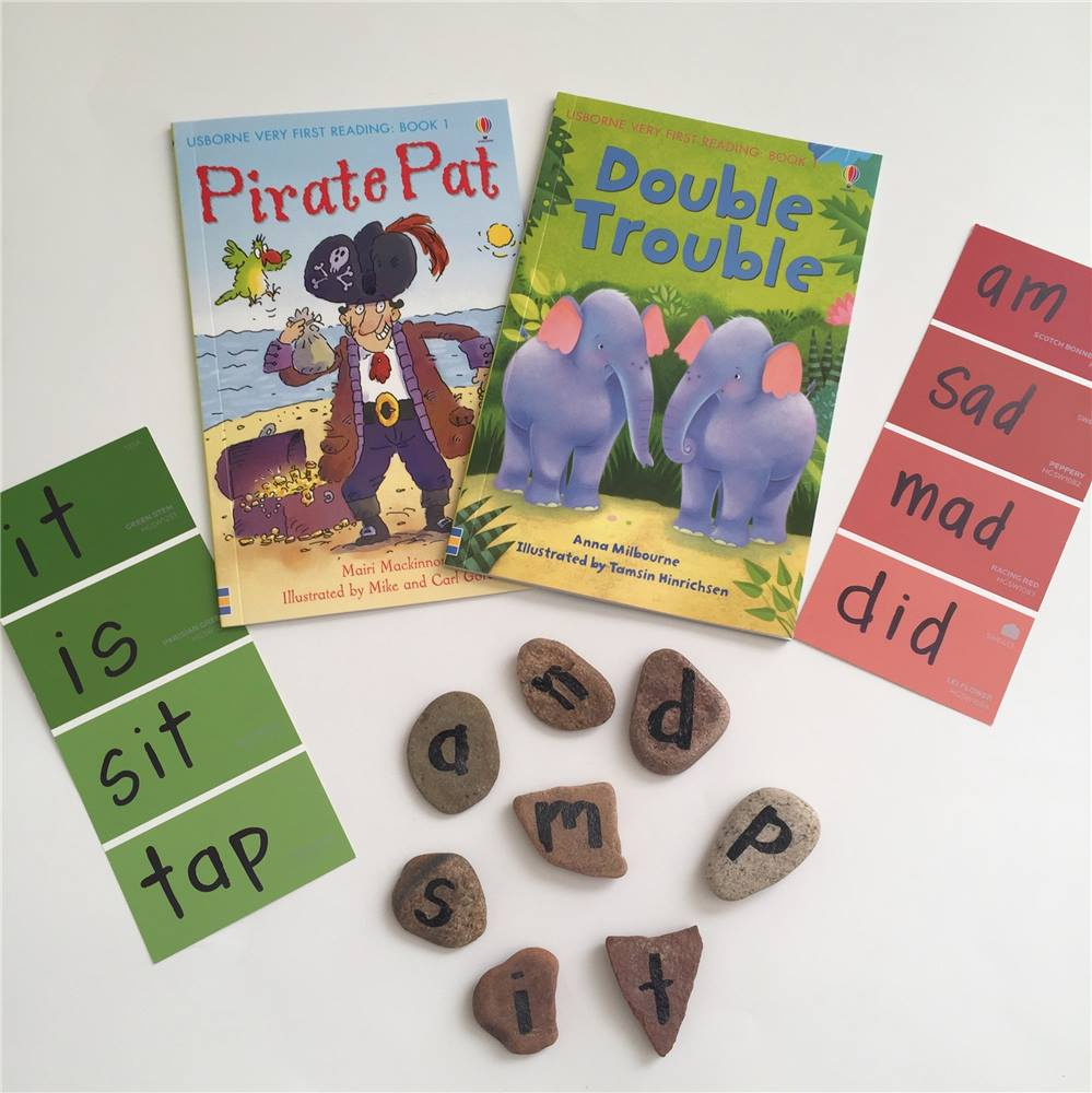 Pirate pat and double trouble are dual reader books which feature big print sentences for kids to read as they are learning and smaller print sentences for an older reader to read while the child has a break. These books are perfect for helping kids gain confidence in reading while having fun!   Write down the letters from the book on rocks, pieces of paper, or note cards. Then write a few words on paint chip cards, or on a piece of paper. As you read, have your child search for the words/make the words with the letters. Then talk about the word families in the book.    Find The Very First Reading Library here