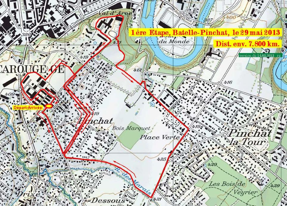 Parcours de la première étape 2013 du Tour du Canton