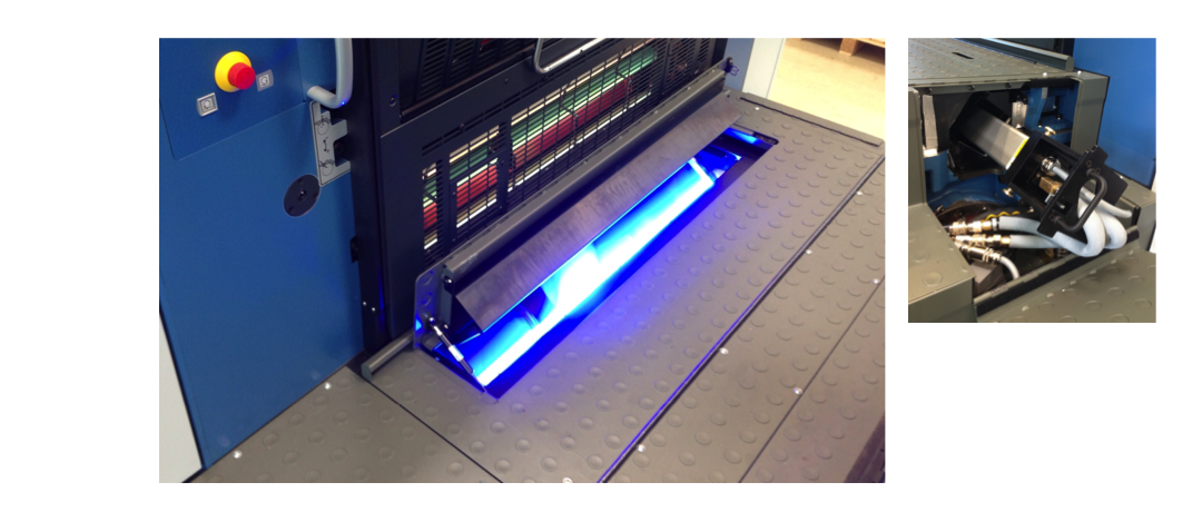 Installation Example: 1x LED UV Module Installed Before the Turn (Perfector Press)