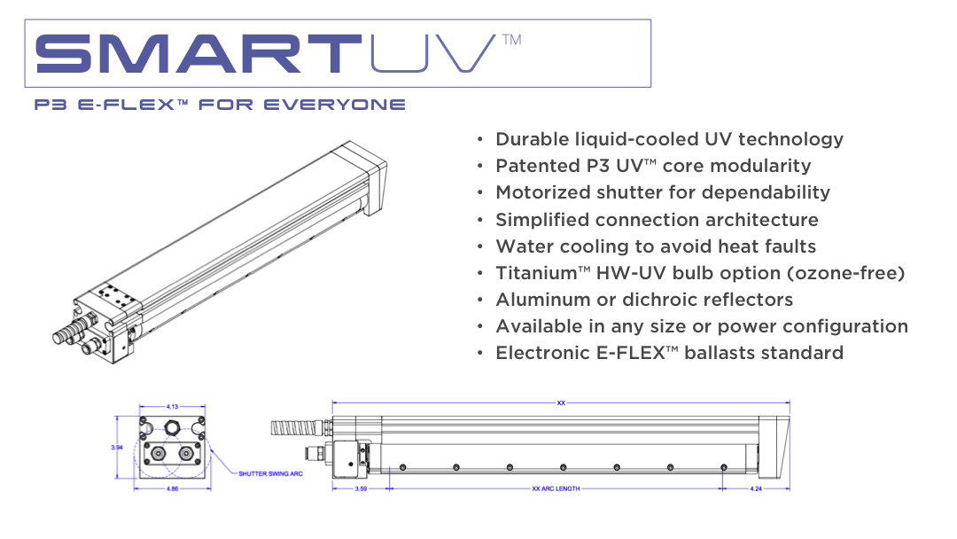 •Durable liquid-cooled UV technology             •Patented P3 UV™ core modularity    •Motorized shutter for dependability    •Simplified connection architecture    •Water cooling to avoid heat faults    •Titanium™ HW-UV bulb option (ozone-free)    •Aluminum or dichroic reflectors    •Available in any size or power configuration    •Electronic E-FLEX™ ballasts standard