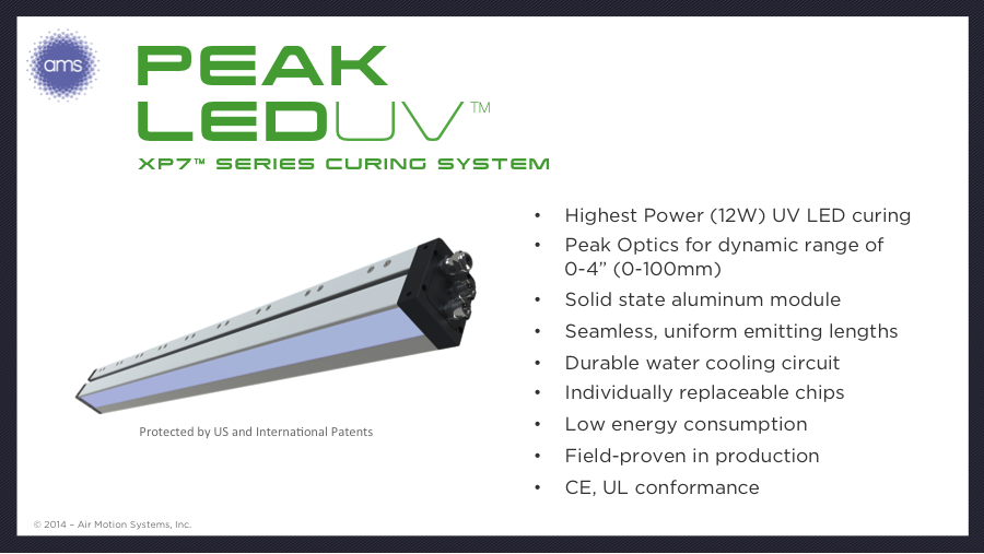 AMS XP7 Series LED-UV Curing Lamp is Designed for the Most Challenging Sheetfed, Web Offset, Flexo and Ink Jet Curing Applications