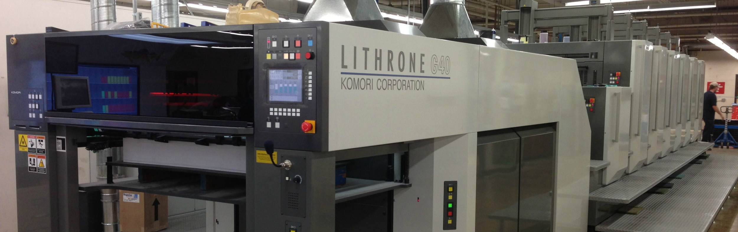 Crossmark Printing of New Berlin, WI has had great success after installing AMS LED UV on their 6 Color Komori Lithrone G4O