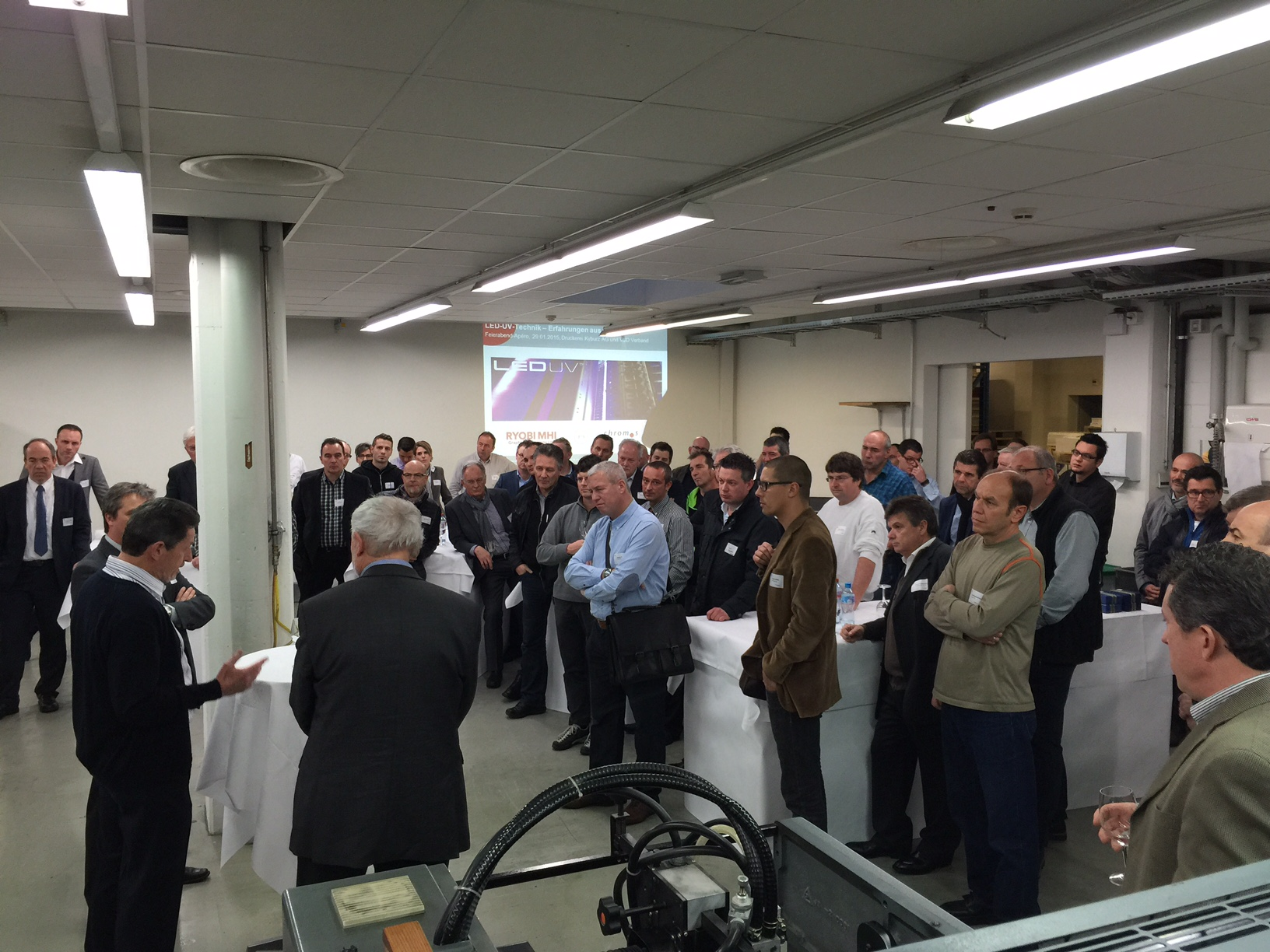 Over 75 visitors attended the first LED-UV Open House in Europe hosted by AMS Reseller Chromos AG and Druckeri Kyburz just outside of Zurich