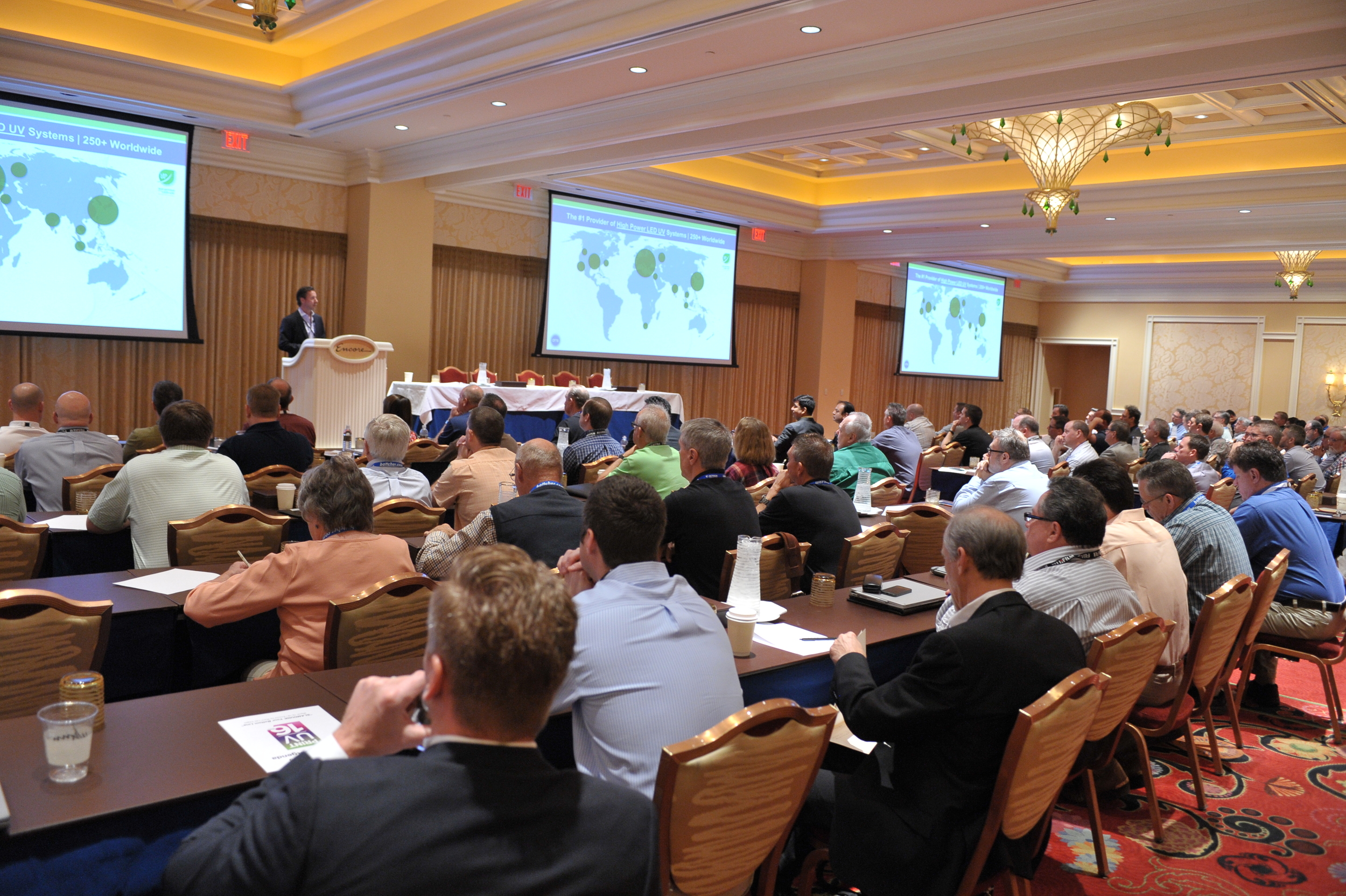 President and CEO of AMS, Steve Metcalf, presenting at Print UV 2016.