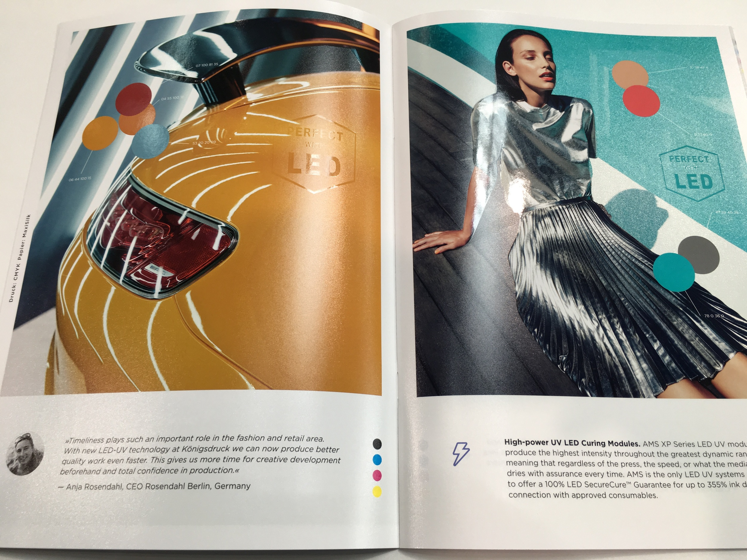 "Each page of the Look Book showcases variations in ""look"" and ""feel"" that can be achieved with LED UV printing on different paper typed and with high-value LED Drip-Off coatings"