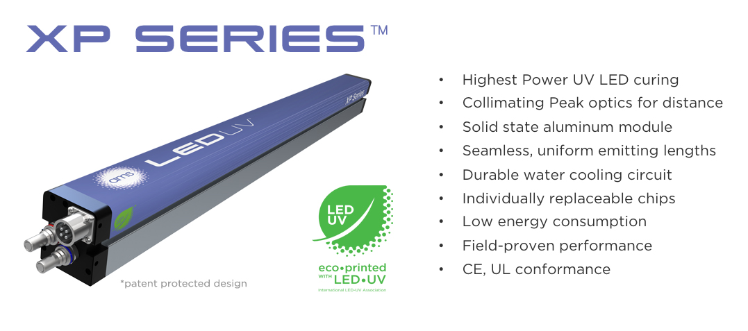 •High power (12W) UV LED curing     •Collimating Peak optics for distance    •Solid state aluminum module    •Seamless, uniform emitting lengths    •Durable water cooling circuit    •Individually replaceable chips    •Low energy consumption    •Field-proven    •CE, UL conformance