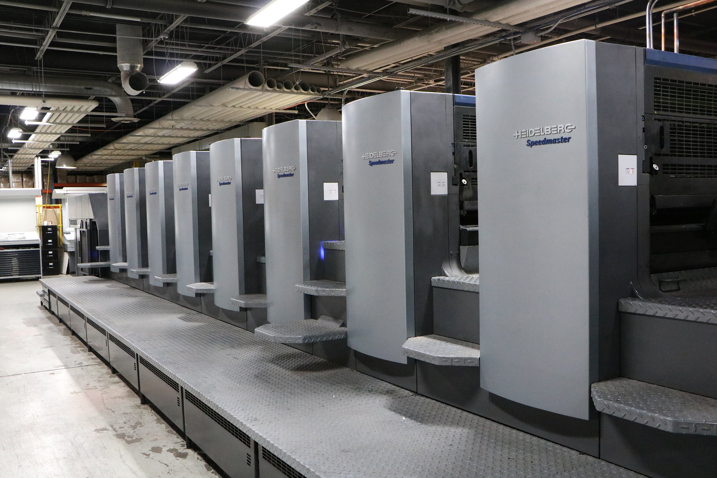 """The second LED UV lamp from AMS, installed mid-press on the 40"""" Heidelberg, can be seen above."""
