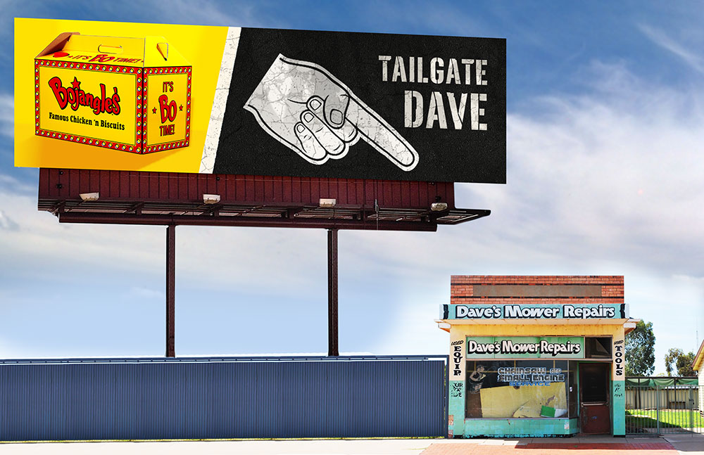 Static billboards point out places to tailgate during your commute.