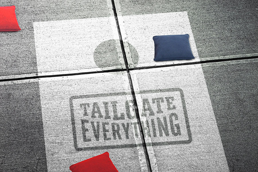 Sidewalk stencil corn hole boards allow you to tailgate while in line at the DMV or that popular night club you've always wanted to go to.