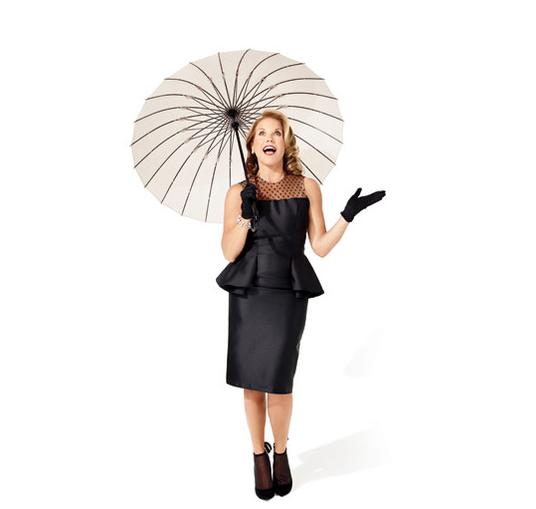Carmen Marc Valvo peplum dress and Calzature heels, Van Cleef & Arpels earrings, Chanel Plume bracelet, Amé Amé u mbrella and vintage gloves.