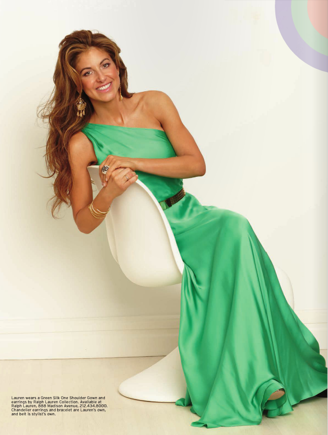 Lauren wears a Green Silk One Shoulder Gown and earrings by Ralph Lauren Collection. Chandelier earring and bracelet were Lauren's own.