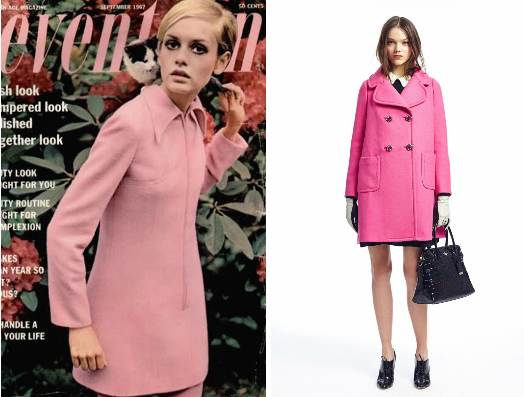 From left to right: Twiggy in a beautiful baby pink coat for the Fall 1967 edition of Seventeen magazine and Kate Spade's collection for New York Fashion Week, Fall 2015.