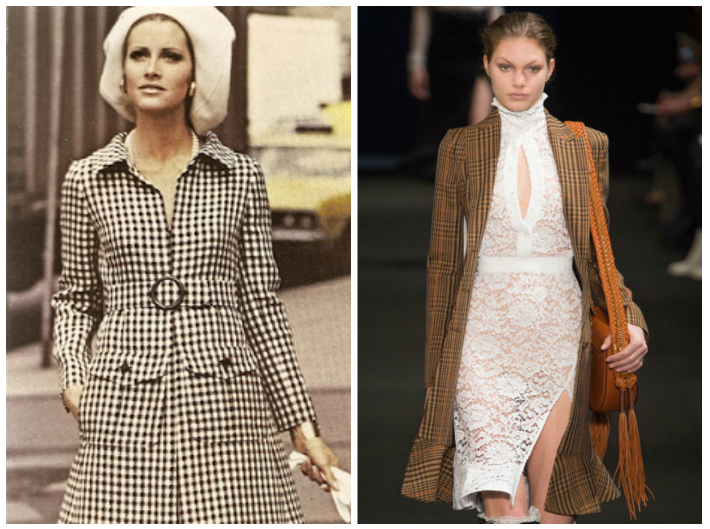 From left to right: Houndstooth dress by James Galanos featured in the Spring 1970 edition of V ogue and Altuzarra's collection for New York Fashion Week, Fall 2015.