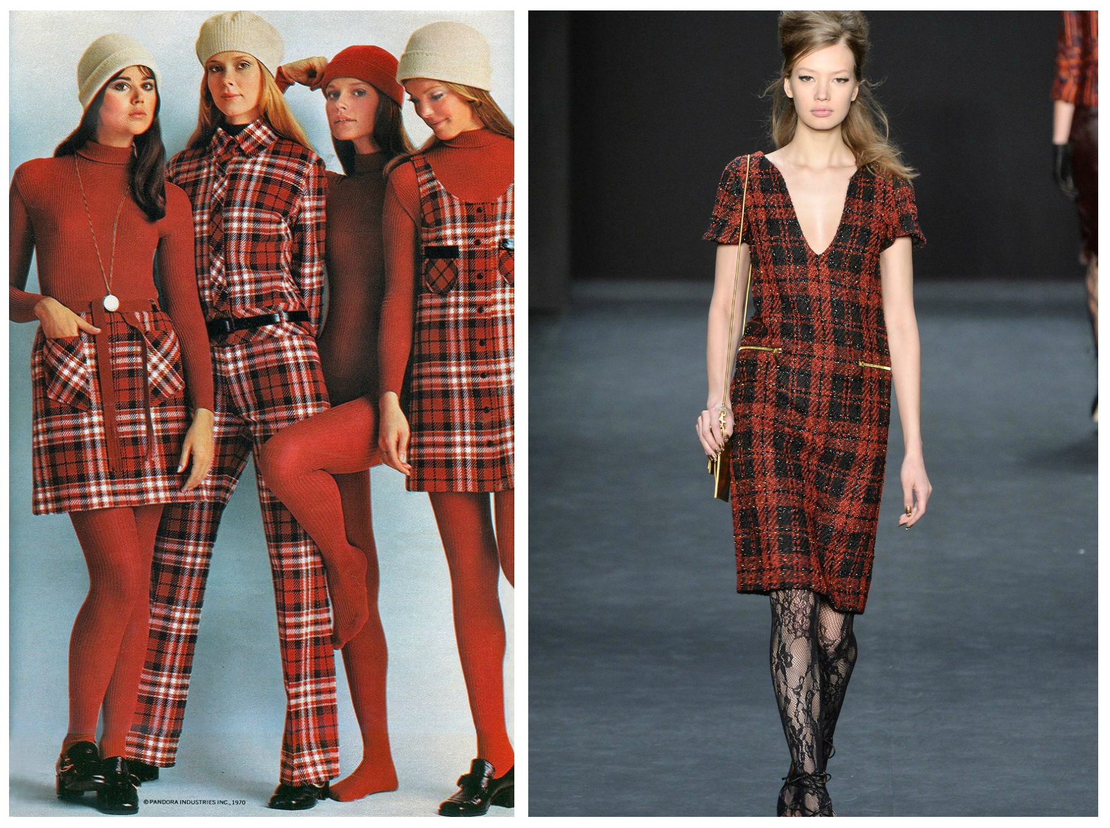 From left to right: Pandora Inc.'s 1970 collection featuring red plaid and Badgley Mischka's collection for New York Fashion Week, Fall 2015.