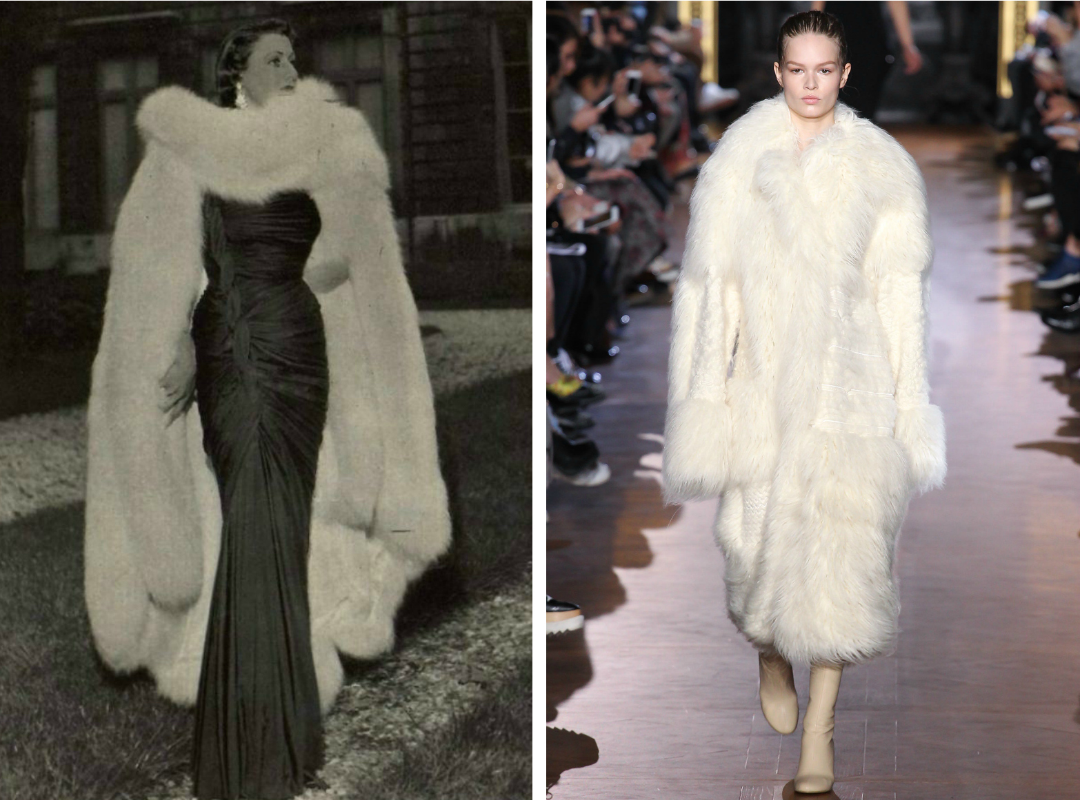 From left to right: Maggy Rouff in 1949 wearing a fur cape, and the Stella McCartney collection at Paris Fashion Week, Fall 2015.