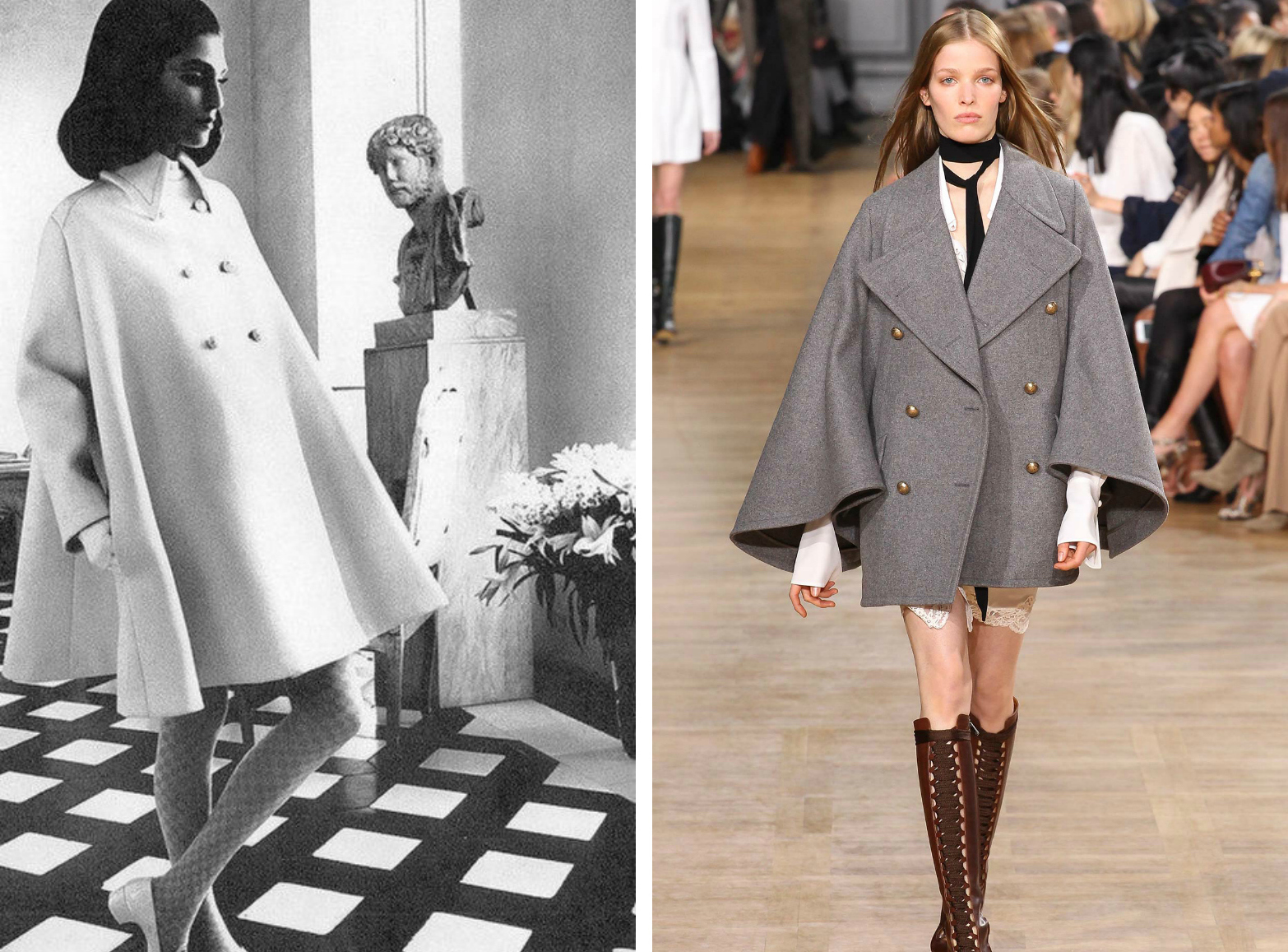 From left to right: Late 1960s cape coat, and the Chloe collection at Paris Fashion Week, Fall 2015.