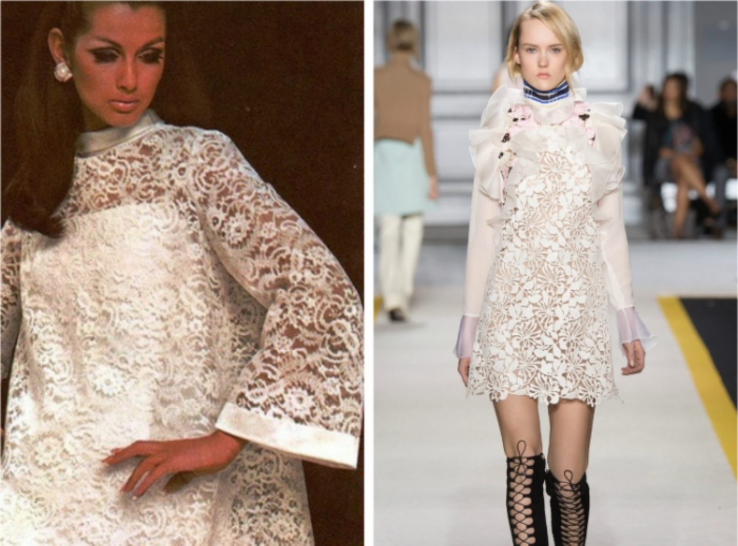 From left to right:Veronica Hamel wearingPierre Balmain forFrench Vogue, December 1969, and the Giambattista Vallicollection at Fashion Week, Fall 2015.
