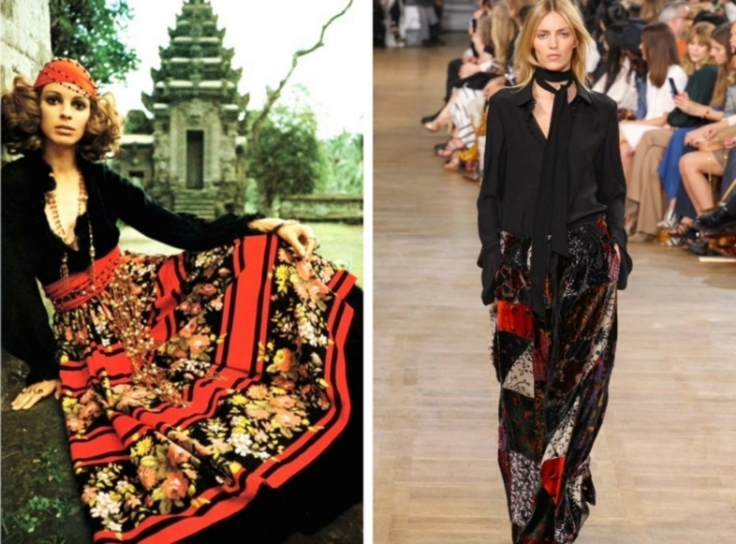 From left to right: P atterned skirt by Norma Tullo featured in Vogue Australia, June - July 1970, and the Chloé collection at Fashion Week, Fall 2015.