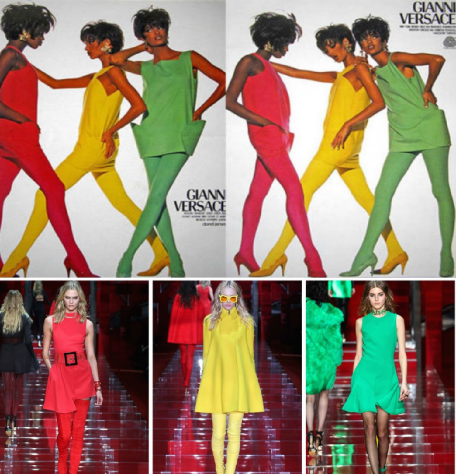 From top to bottom: Versace 1995  and the Versace collection at Milan Fashion Week, Fall 2015.