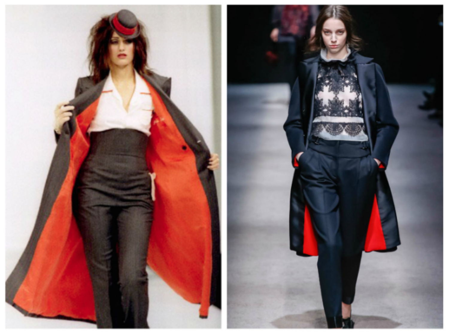 From left to right: Stella McCartney 1995, and the Alberta Ferretti collection at Milan Fashion Week, Fall 2015.