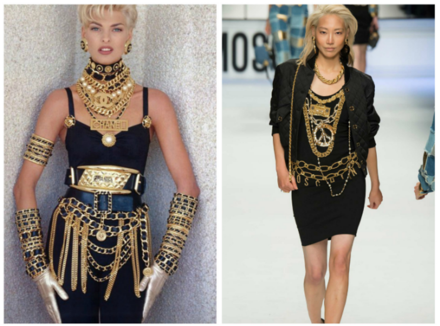 From left to right: Linda Evangelista wearing Chanel in 1990, and the Moschino collection at Milan Fashion Week, Fall 2015.