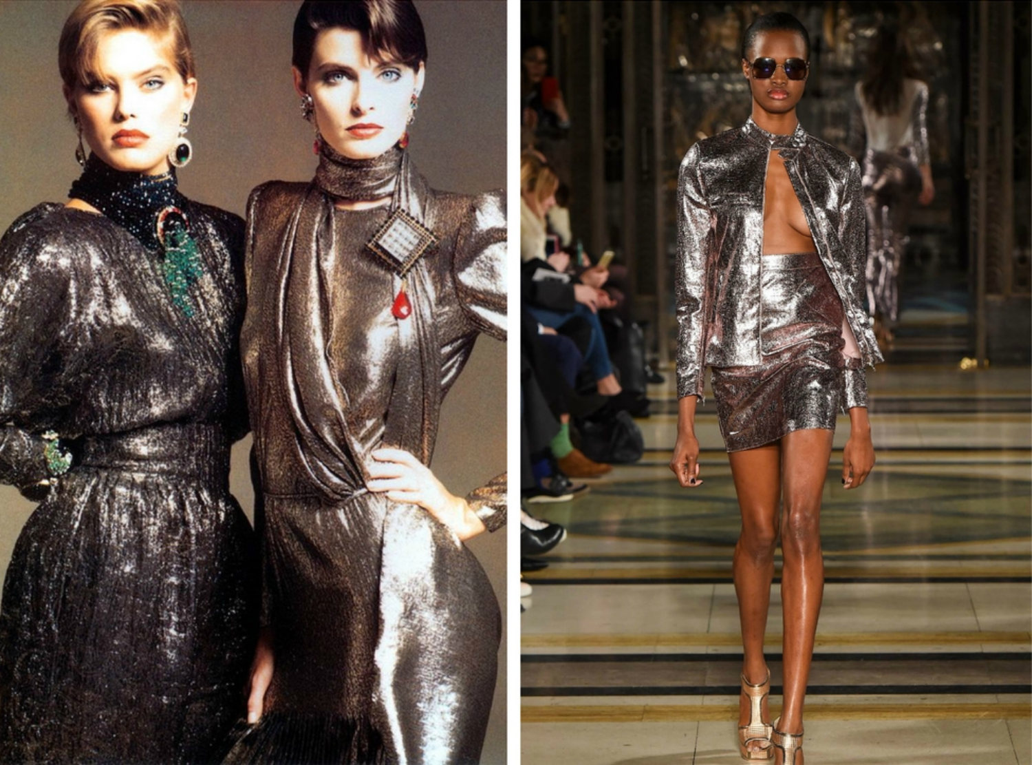 From left to right: Dresses featured in the 1983 Valentino collection  , and Felder's collection for London Fashion Week, Fall 2015.