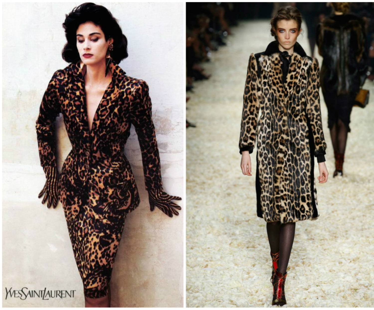 From left to right: Leopard Dress featured in the 1986Yves Saint Laurent collection, and Tom Ford's collection for London Fashion Week, Fall 2015.