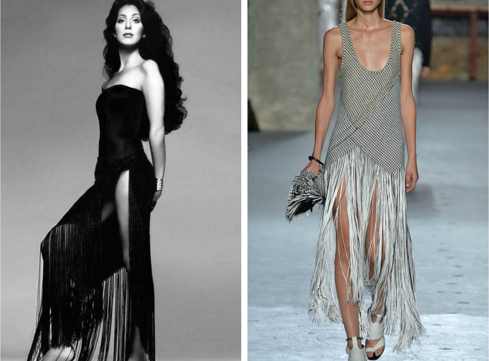From left to right: Cher in 1972 wearing a black dress with a fringed skirt, and the Proenza Schouler Spring-Summer 2015 trunkshow.