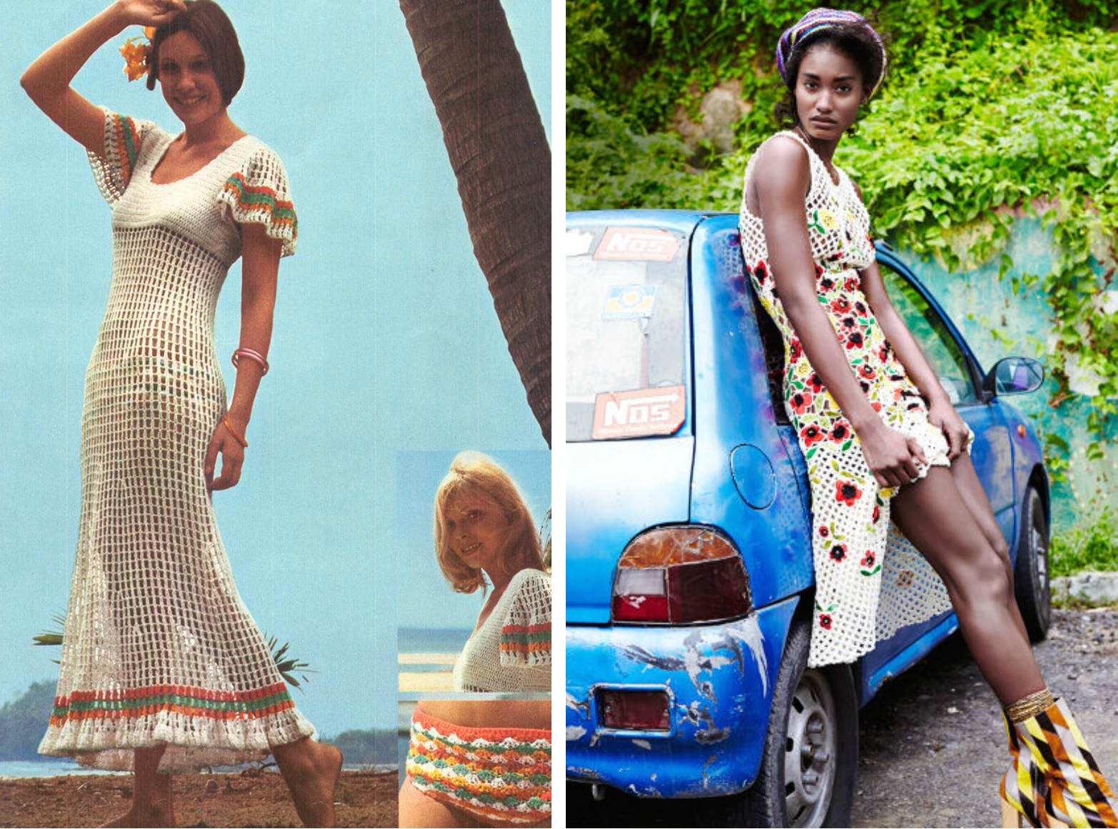 From left to right: Vintage 1970s crochet open work maxi dress with flare sleeves, and crochet silk dress by Oscar de la Renta featured in the March 2015 edition of Elle Magazine.