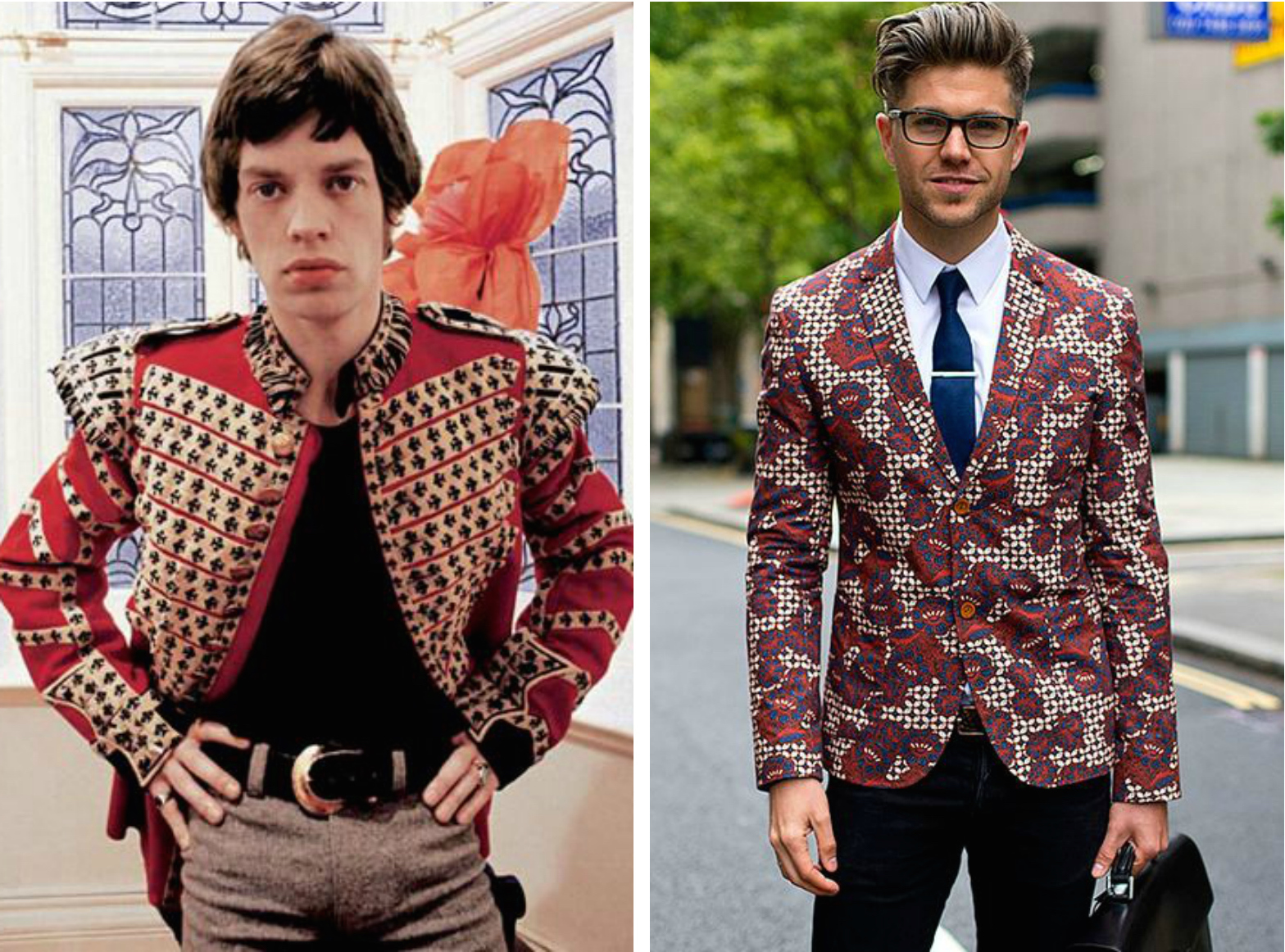 From left to right: Mick Jagger in 1967 wearing a red patterned blazer, and patterned blazer featured in Vogue México.