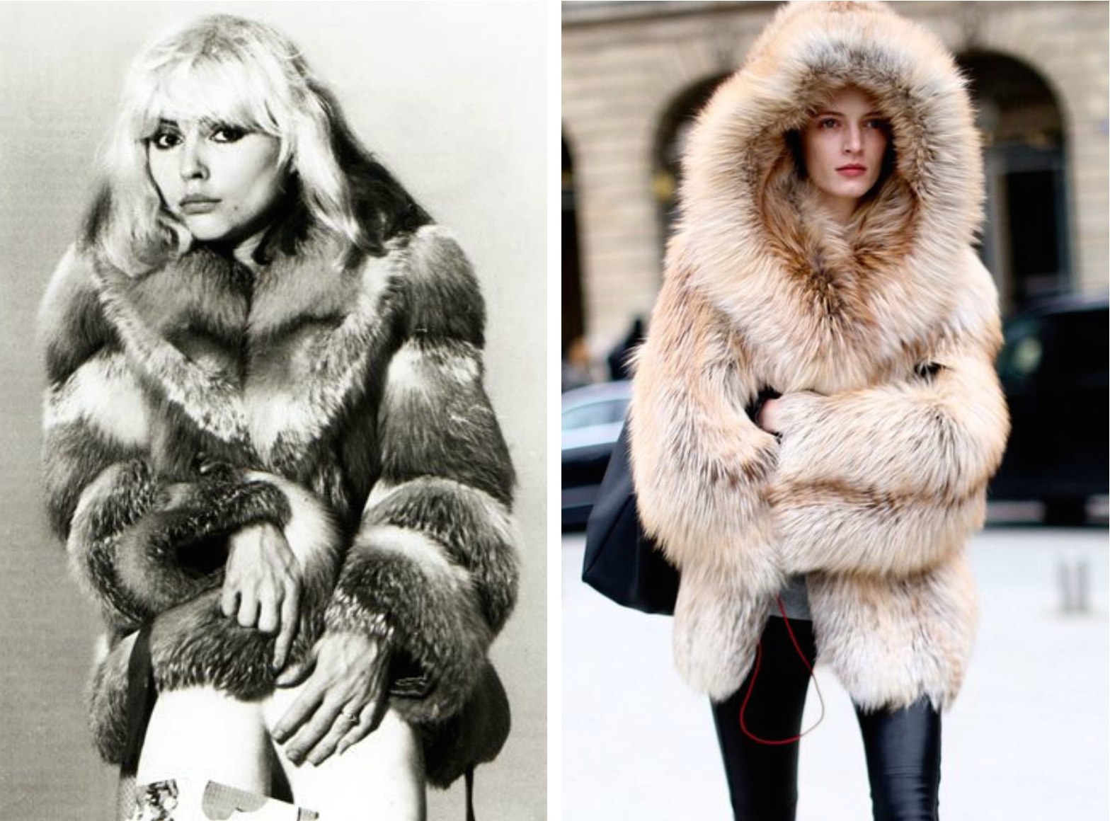From left to right:Fashion icon, Debbie Harry (Blondie), in 1970 wearing a beautiful fur jacket, and fur jacket for Fall 2014 street style.