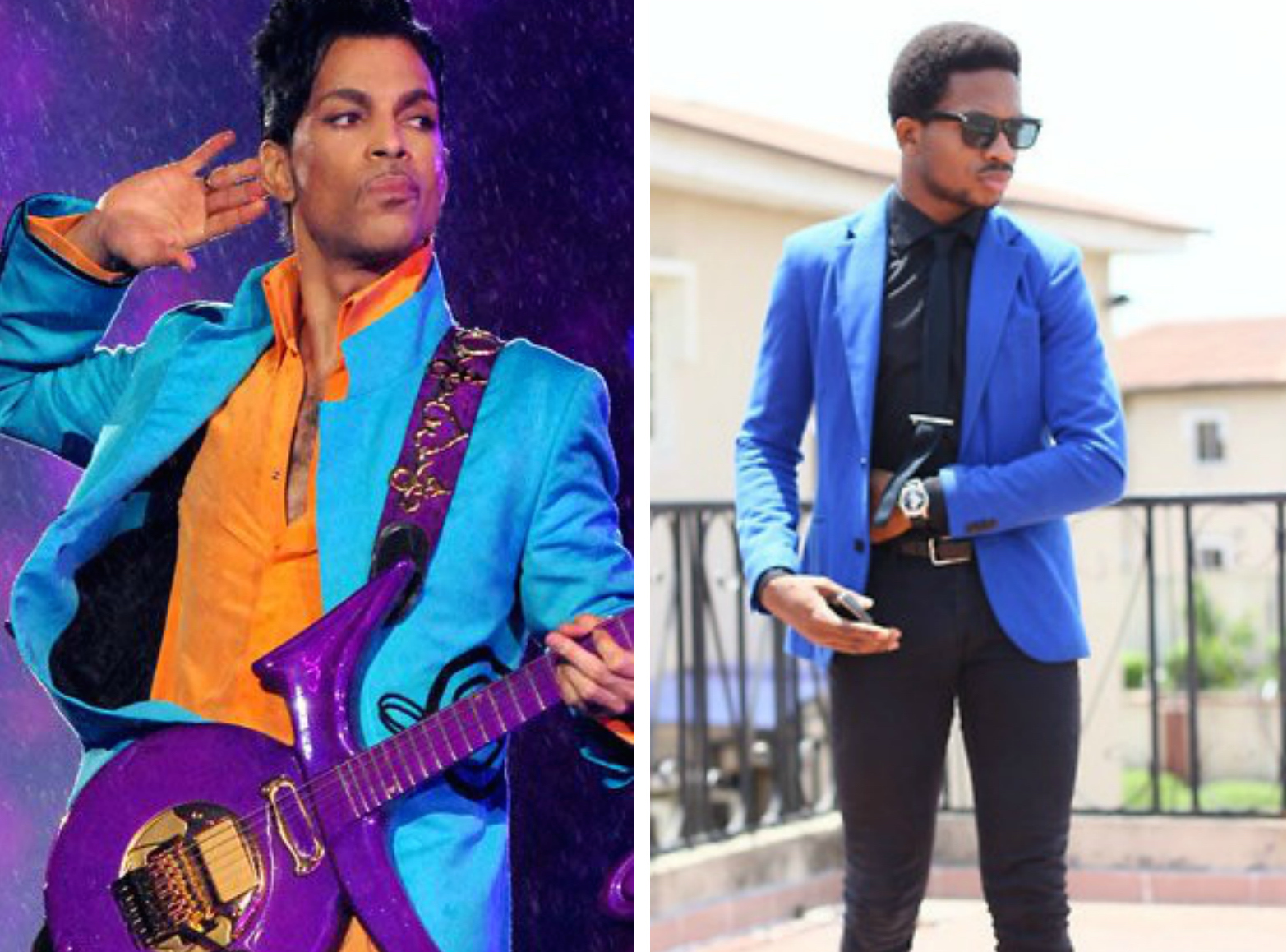 """From left to right:Prince wearing a bright blue suit jacket while preforming his song """"Purple Rain,"""" and a n eon blue blazer by Orange Culture."""