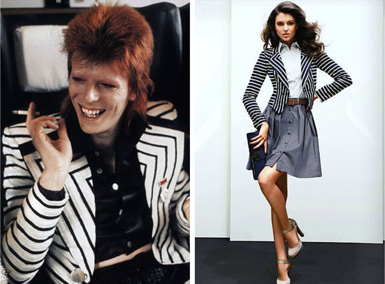 From left to right:David Bowie as Ziggy Stardust in 1970 wearing a  Kansai Yamamoto suit jacket , and a black and white suit jacket featured in street style for womenswear.