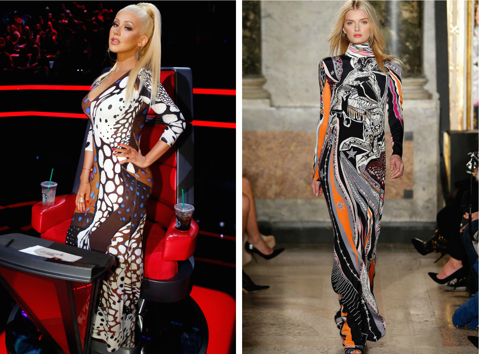 From left to right: Christina Aguilera wearing a printed max dress on The Voice, and the Emilio Pucci Fall 2015 Collection.
