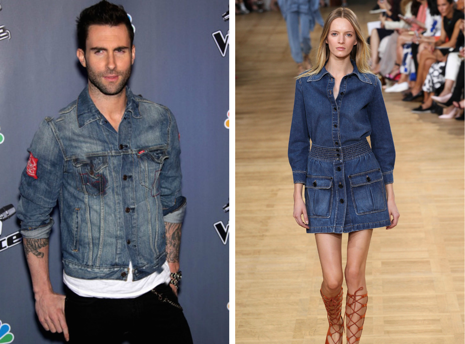 From left to right: Adam Levine wearing a denim jacket  , and the ChloéSpring 2015 Collection.