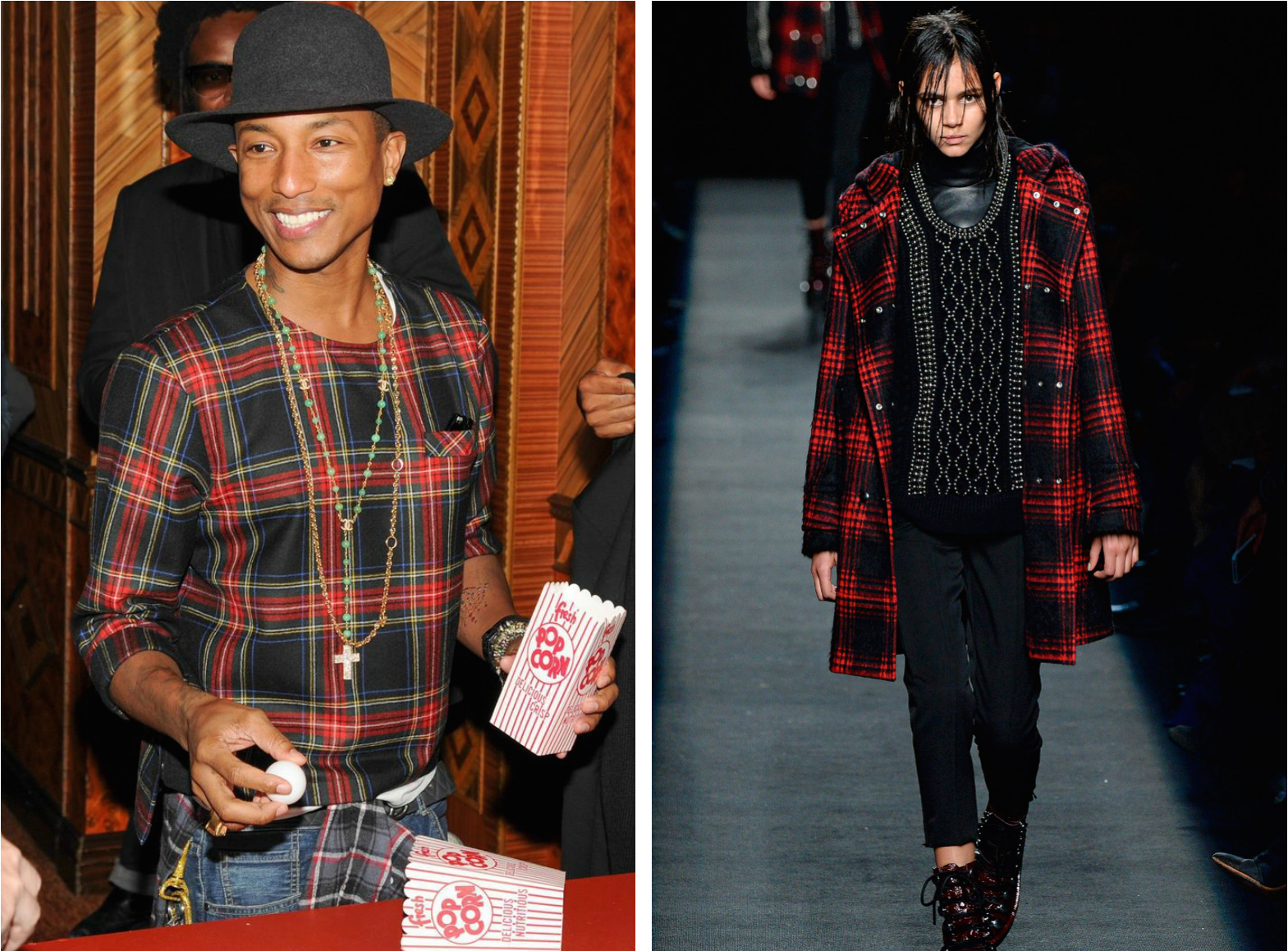 From left to right: Pharrell wearing a plaid shirt, and the Alexander WangFall 2015 Collection.