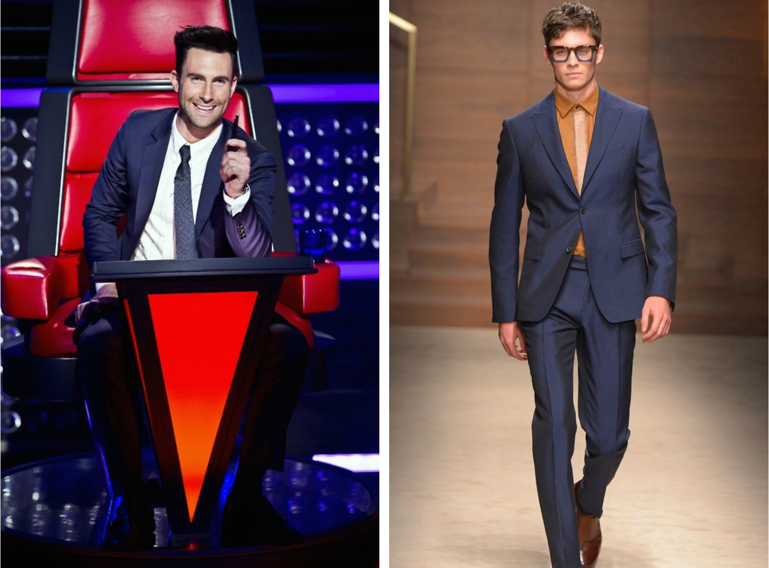 From left to right: Adam Levine wearing a blue suit on set of The Voice, and the Salvatore Ferragamo Fall 2015 Collection.