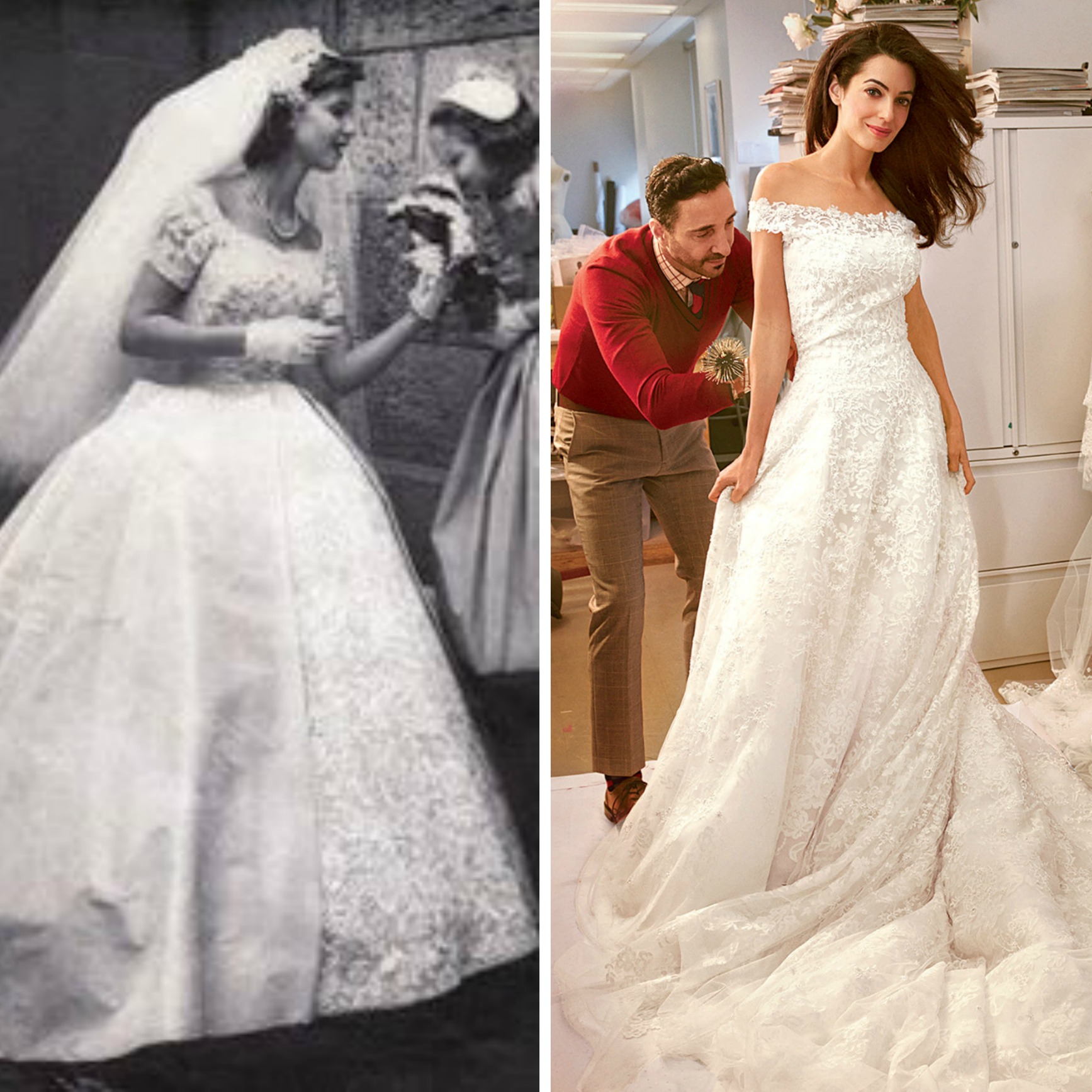 From left to right: 50's Bride, and Amal Alamuddin at her Oscar de la Renta dress fitting.