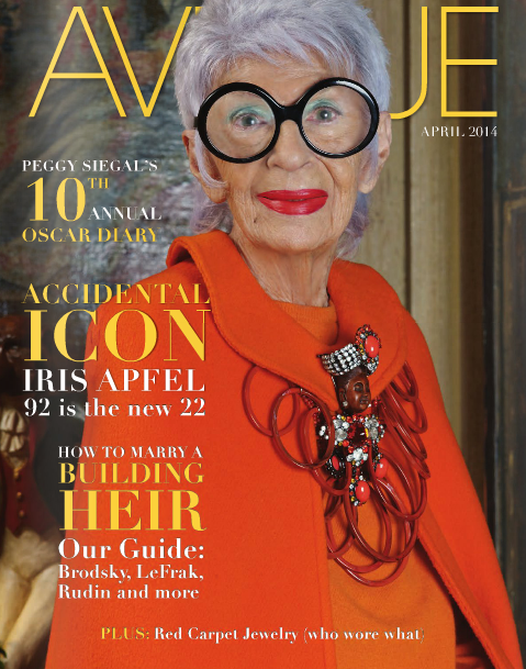 http://nycstylist.com/nycstylist-blog/2014/4/1/iris-apfel-april-cover-of-avenue  // Photographed by: Keith Major