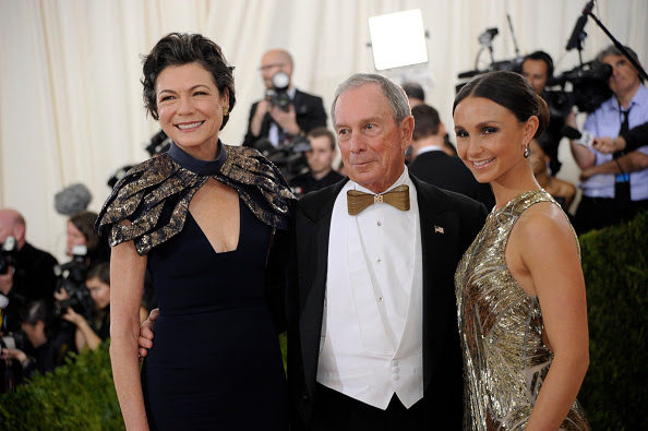 """Diana Taylor and Michael Bloomberg at the 2016 Met Gala. Diana wearing a custom made capelette and Michael Bloomberg wearing a custom cut """"living-hinge"""" wooden bow tie created by NYCSTYLIST."""