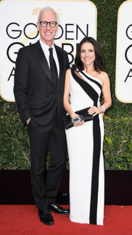 Julia Louis-Dreyfus:   Georges Chakra  gown,  Chopard  jewels,  Ferragamo  shoes,  Roger Vivier  clutch  Brad Hall
